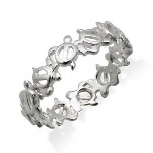 Silver Hawaiian Turtle Eternity Ring