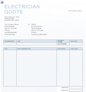 Electrician Quote Template