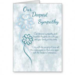 Our Deepest Sympathy Blue Flowers Sentiment Words Greeting Card