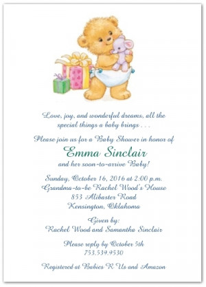 Baby Gift Wording on Bearing Gifts Baby Shower Invitations Storkie