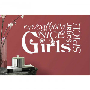 ... Girl Art Sugar Spice Word Collage Vinyl Wall Quotes Lettering Decals