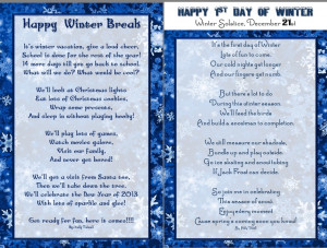 Winter Break (Vacation) Poem for kids & 1st Day of Winter Solstice ...
