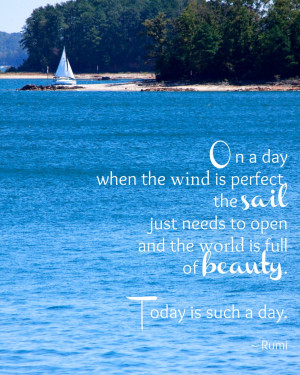 Rumi Quotes About True Love: One Day When The Wind Is Perfect Quote ...