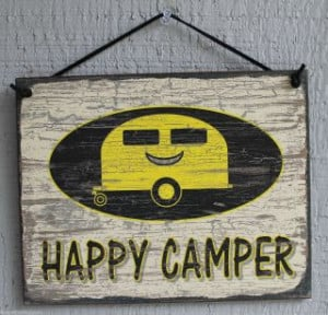 NEW Happy Camper Trailer RV Camp Camping Quote Saying Wood Sign Wall