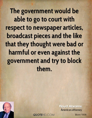 The government would be able to go to court with respect to newspaper ...