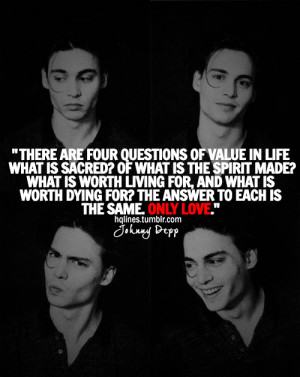 hqlines, johnny depp, life, love, quotes, sayings