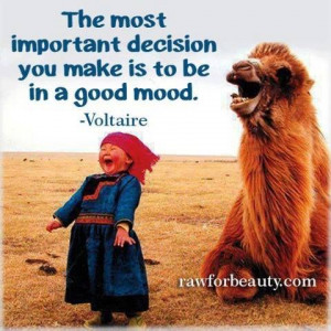 ... most important decision you make is to be in a good mood. -Voltaire