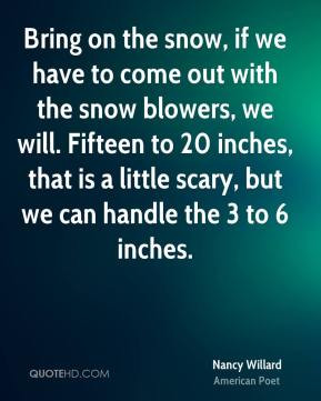 Bring on the snow, if we have to come out with the snow blowers, we ...