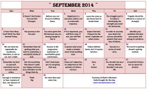 September 2014 Motivational Thoughts Calendar