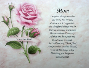 Mom Personalized Poem Birthday Mother's Day or Christmas Gift Pink ...