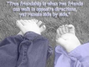 true Friendship is when two Friends can walk in opposite direction,yet ...
