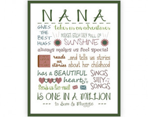 Nana Grandma Quotes Mother's day gift for grandma,