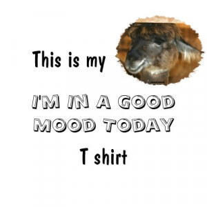 Happy Llama Good Mood Humorous Funny T-Shirt by SmilinEyesTreasures
