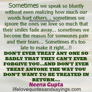 Sometimes We Speak So Bluntly..