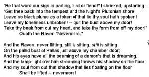 Excerpts from Edgar Allen Poe's THE RAVEN