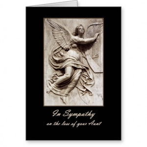 In Sympathy - Loss of Aunt - Angel with Harp Greeting Cards