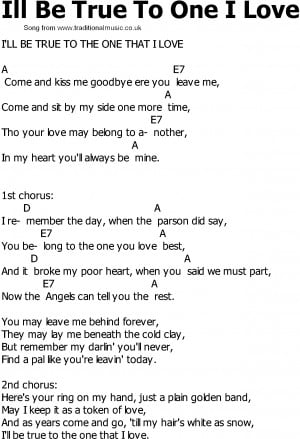 Old Country song lyrics with chords - Ill Be True To One I Love