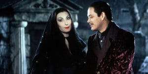 Angelica Huston as Morticia Addams offers comfort to her husband Gomez ...