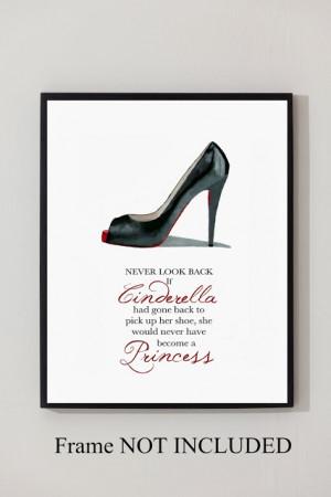 ... CHRISTIAN LOUBOUTIN Black Shoe ART PRINT, Cinderella Princess Quote 10