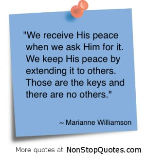 We Receive His Peace When We ask Him For It ~ God Quote