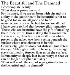 The Beautiful and The Damned #poetry #philosophy #quote