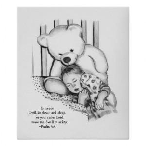 Sleeping Baby, Watchful Teddy Bear: Bible Verse Print