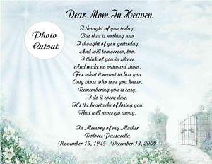 ... Memorial Personalized Poem Gift For Loss Of Mother Father Husband Wife
