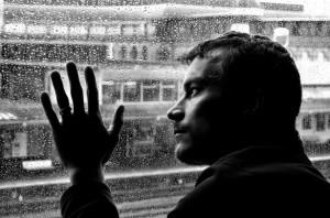 Sad Man And Rain by George Hodan