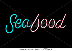 Pink and blue seafood neon sign isolated on black background - stock ...