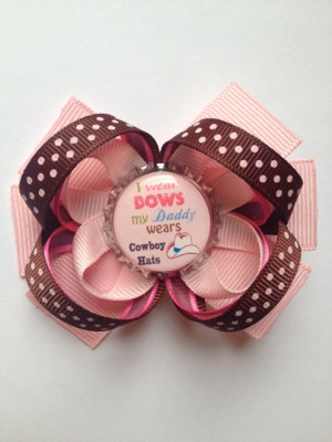 Hair Bow Bottle Cap Pink Ribbon Stacked Boutique Cute Sayings Hair ...