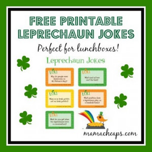 Download these FREE Printable Leprechaun Jokes from Lunchbox Love.
