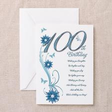 100th birthday in teal Greeting Card for