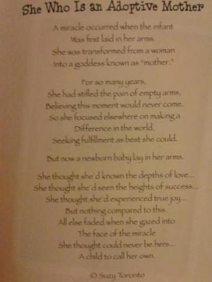 Adoptive Mom Poem/ Playset