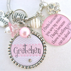 Personalized Sister Inspirational Quote Keychain Necklace
