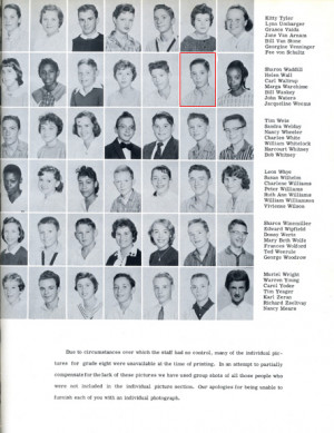 John Waters' 8th Grade Yearbook Page and Photo