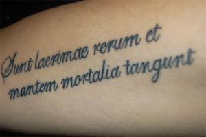 latin quote tattoo design on sleeve