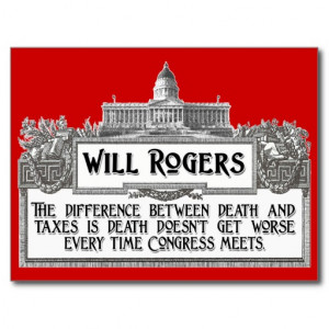Will Rogers Quote on Death and Taxes Post Card