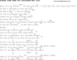 ... chords for guitar banjo for Please Come Home For Christmas-Bon Jovi