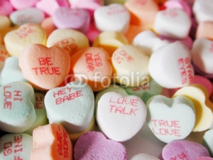 Photo: candy hearts with love sayings on them
