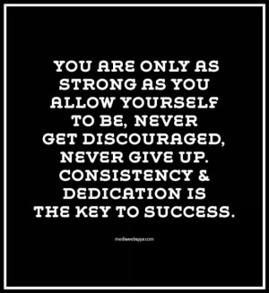 Strong As You Allow Yourself To Be, Never Get Discouraged, Never Give ...