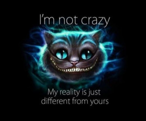 not crazy. My reality is just different from yours.
