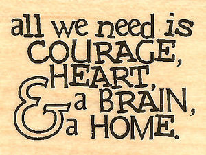 Details about Wizard Of Oz Quote Courage Wood Mounted Rubber Stamp ...