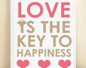 love is the key typography print ho usewarming gift love is the key to ...
