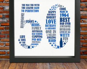 Personalized Birthday Gift Print- 50th birthday, 50th birthday gift ...