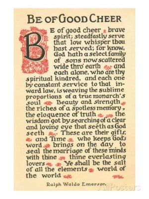 Be of Good Cheer, Emerson Quote Art Print