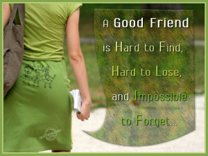good friend is hard to find, hard to lose and impossible to forget