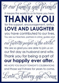 Wedding Thank You Cards for Welcome Bag or Reception Table Setting 100