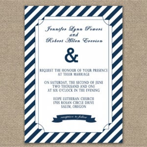 navy blue simple elegant nautical wedding invitations affordable ...