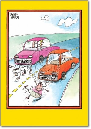 Married Cars Unique Humorous Anniversary Paper Card Nobleworks