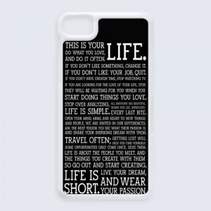 Life Quotes About Passion Typograph BlackBerry Z 10 case cover